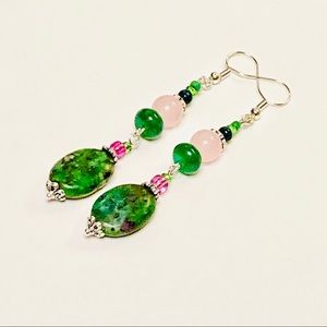 Ruby In Fuchsite & Rose Quartz Earrings